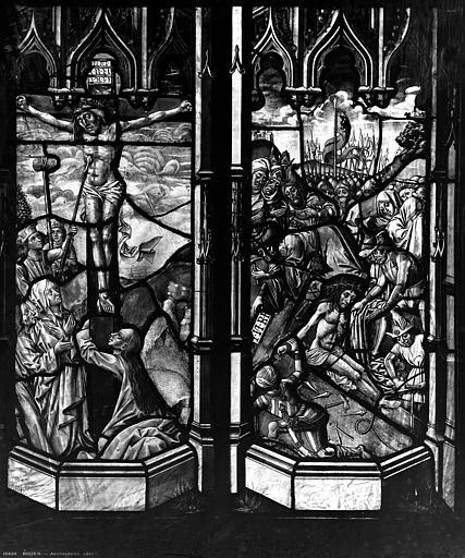 Archevêché Vitrail, Portement de croix, Le Christ attaché sur la croix, Leprévost (photographe),