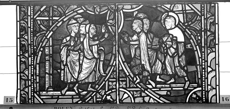 Cathédrale Vitrail, sacristie des Chanoines, saint Pierre et saint Paul, sixième panneau, Heuzé, Henri (photographe),