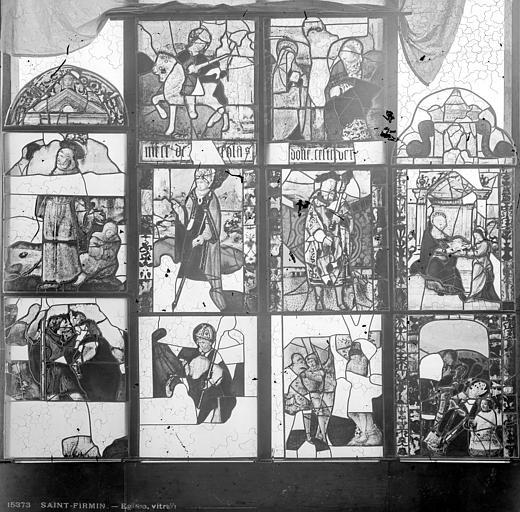 Eglise Vitrail : fragments de deux baies, Leprévost (photographe),