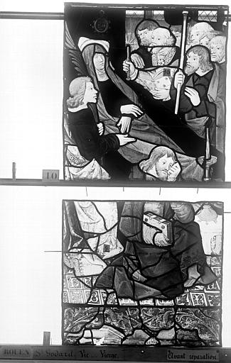 Eglise Saint-Godard Vitrail, baie 16, Vie de la Vierge, troisième panneau, en haut, Heuzé, Henri (photographe),