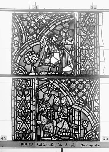 Cathédrale Vitrail, baie 59, Vie de Joseph, deuxième panneau, en haut, Heuzé, Henri (photographe),