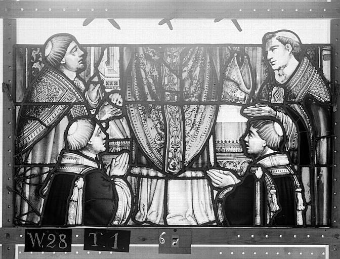 Cathédrale Vitrail, Chapelle Saint-Joseph, lancette gauche, Légende de saint Romain, sixième panneau, en haut, Heuzé, Henri (photographe),