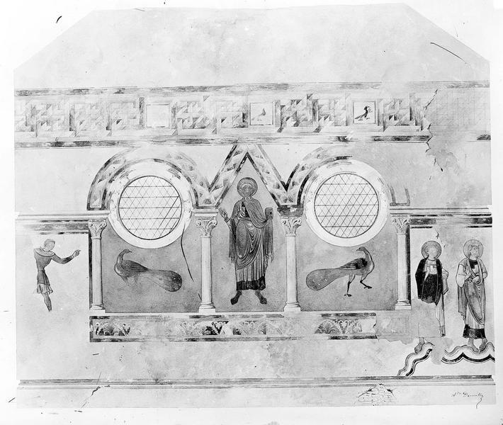 Baptistère Saint-Jean Peinture murale d'après le relevé de A. Denuelle, Gossin (photographe),