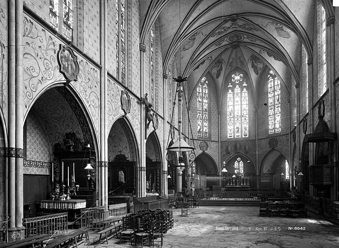 Eglise de Montferrand Nef, vue de l'entrée, Durand, Eugène (photographe),