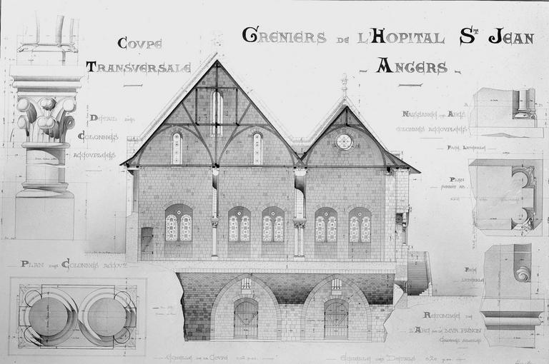 Hôtel Dieu (ancien hôpital Saint-Jean) Relevé, Magne, Louis,