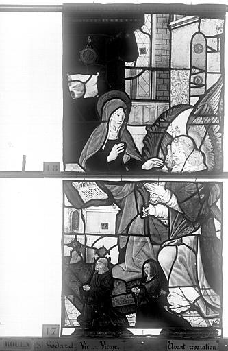 Eglise Saint-Godard Vitrail, baie 16, Vie de la Vierge, quatrième panneau, en haut, Heuzé, Henri (photographe),