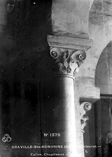 Abbaye de Graville-Sainte-Honorine (ancienne) Eglise : Chapiteau de la nef, Mieusement, Médéric (photographe),