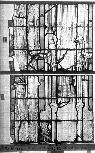 Cathédrale Vitrail, Chapelle Jeanne d'Arc, la Vierge et l'Enfant, saint jean, baie 36, septième panneau, en haut, Heuzé, Henri (photographe),