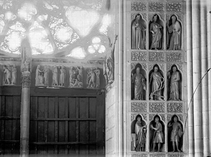 Cathédrale Notre-Dame Portail ouest, revers, niches, statues et linteau, Lajoie, Abel,