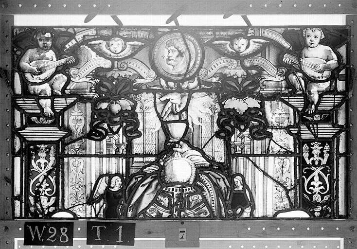 Cathédrale Vitrail, Chapelle Saint-Joseph, lancette gauche, Légende de saint Romain, cinquième panneau, en haut, Heuzé, Henri (photographe),