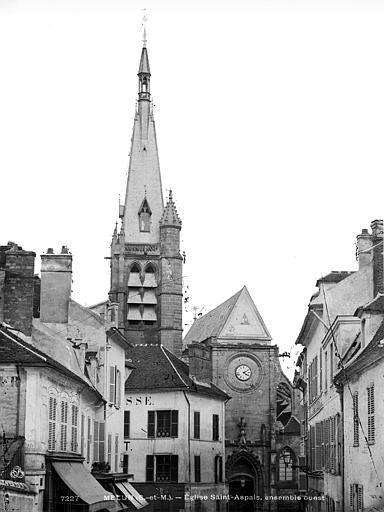 Eglise Saint-Aspais Façade ouest, Durand, Eugène (photographe),