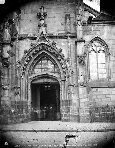 Eglise Saint-Aspais Portail ouest, Durand, Eugène (photographe),