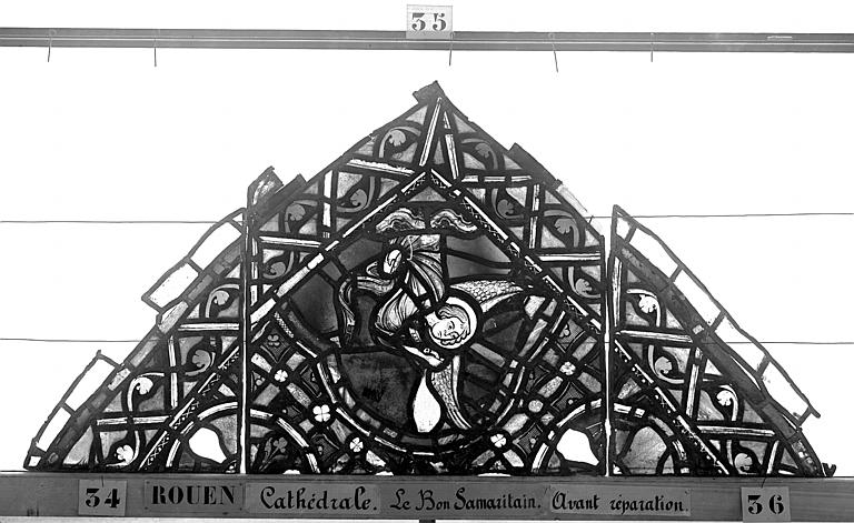 Cathédrale Vitrail, déambulatoire, baie 52, le Bon Samaritain, premier panneau, en haut, Heuzé, Henri (photographe),