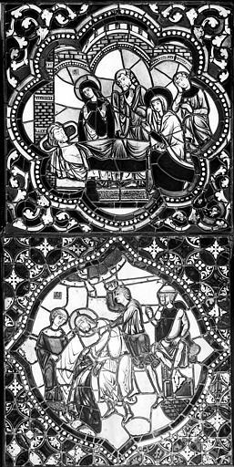 Cathédrale Saint-Jean Vitrail : Personnages veillant un mort. Décollation d'un saint, ,