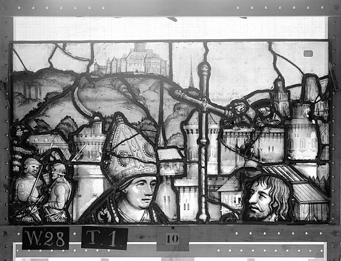 Cathédrale Vitrail, Chapelle Saint-Joseph, lancette gauche, Légende de saint Romain, deuxième panneau, en haut, Heuzé, Henri (photographe),