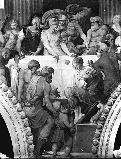 Domaine national, château Peintures murales de la galerie Henri II, partie centrale du Banquet, Service photographique,
