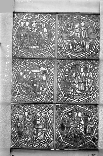 Eglise Saint-Gengoult Vitrail de la petite chapelle absidiale D, panneaux inférieurs des deux lancettes 1, 2, 3, 7, 8, 9, Romanais (photographe),