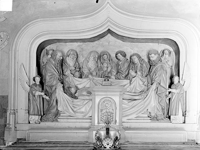 Hôpital général Chapelle Sainte-Croix, monument funéraire : Mise au tombeau du Christ (groupe sculpté), Gossin (photographe),