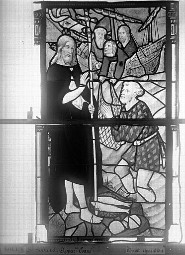 Eglise Saint-Godard Vitrail, baie 15, Apparition du Christ, septième panneau, Heuzé, Henri (photographe),