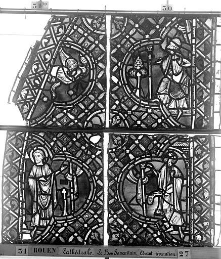 Cathédrale Vitrail, déambulatoire, baie 52, le Bon Samaritain, deuxième panneau, en haut, Heuzé, Henri (photographe),