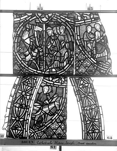 Cathédrale Vitrail, déambulatoire, baie 57, Histoire de Joseph, deuxième panneau en haut, Heuzé, Henri (photographe),