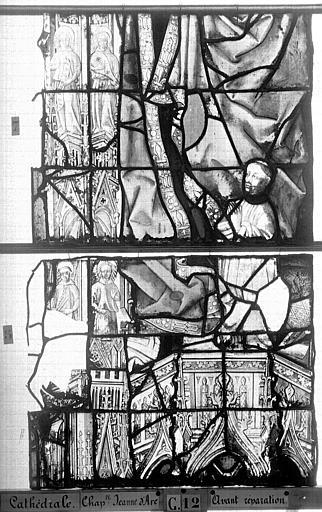 Cathédrale Vitrail, Chapelle Jeanne d'Arc, la Vierge et l'Enfant, saint jean, baie 36, onzième panneau, en haut, Heuzé, Henri (photographe),