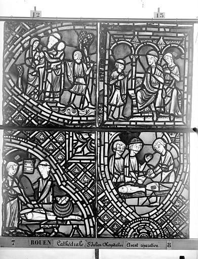 Cathédrale Vitrail, déambulatoire au nord, saint Julien l'Hospitalier, dixième panneau, en haut, Heuzé, Henri (photographe),