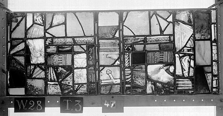 Cathédrale Vitrail, Chapelle Saint-Joseph, lancette de droite, Légende de saint Romain, huitième panneau, en haut, Heuzé, Henri (photographe),