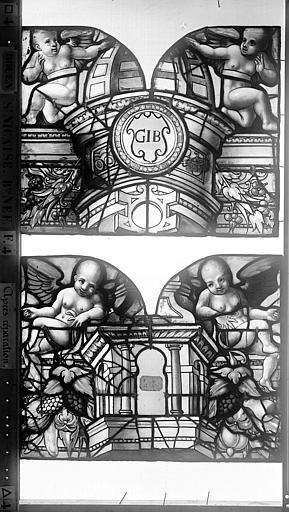 Eglise Saint-Nicaise Vitrail, fenêtre 4, bas-côté nord, panneaux, Heuzé, Henri (photographe),
