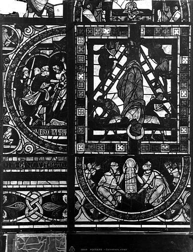 Cathédrale Saint-Pierre Vitrail, fenêtre B, figure ornementation, Leprévost (photographe),