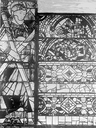Cathédrale Saint-Pierre Vitrail, baie C : ornements et figure de saint André, Leprévost (photographe),
