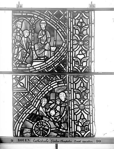 Cathédrale Vitrail, déambulatoire au nord, saint Julien l'Hospitalier, onzième panneau, en haut, Heuzé, Henri (photographe),