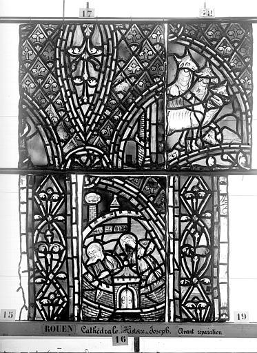 Cathédrale Vitrail, déambulatoire, baie 57, Histoire de Joseph, dixième panneau en haut, Heuzé, Henri (photographe),