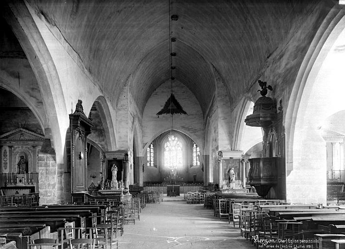 Eglise Vue intérieure de la nef, vers le choeur, Mieusement, Médéric (photographe),