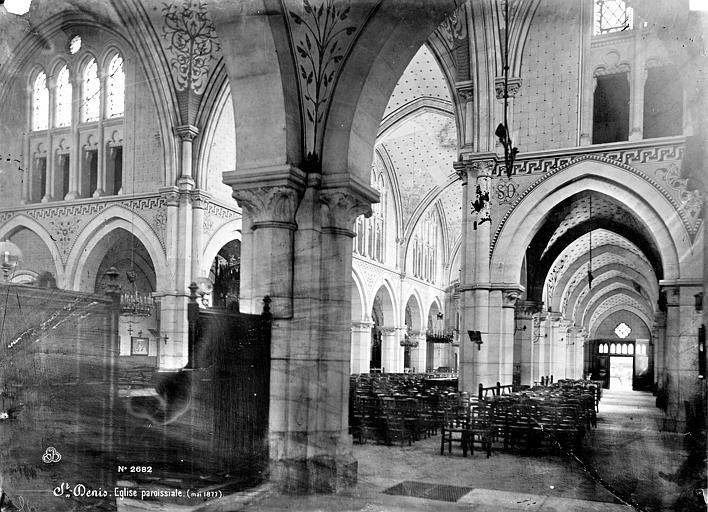 Eglise Saint-Denys-de-l'Estrée Vue intérieure de la nef et du bas-côté nord, vers le sud-ouest, Mieusement, Médéric (photographe),