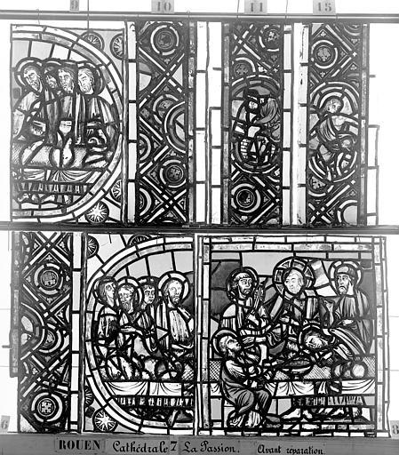Cathédrale Vitrail, déambulatoire, la Passion, neuvième panneau, Heuzé, Henri (photographe),