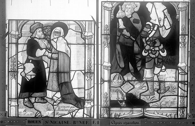 Eglise Saint-Nicaise Vitrail, fenêtre 1, bas-côté nord, la Vie du Christ, panneaux, Heuzé, Henri (photographe),