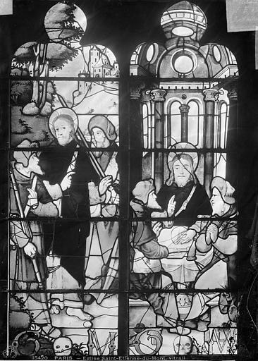 Eglise Saint-Etienne-du-Mont Vitrail : Les Pèlerins d'Emmaüs, Leprévost (photographe),