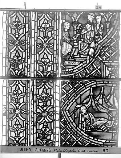 Cathédrale Vitrail, déambulatoire au nord, saint Julien l'Hospitalier, sixième panneau, en haut, Heuzé, Henri (photographe),