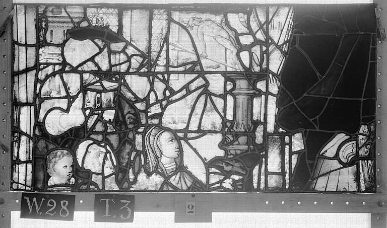 Cathédrale Vitrail, Chapelle Saint-Joseph, lancette de droite, Légende de saint Romain, dixième panneau, en haut, Heuzé, Henri (photographe),