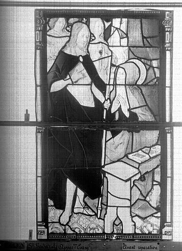 Eglise Saint-Godard Vitrail, baie 15, Apparition du Christ, cinquième panneau, Heuzé, Henri (photographe),