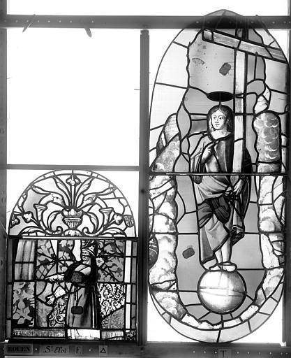 Eglise Saint-Eloi (ancienne) Vitrail, fenêtre 1, panneau supérieur du tympan, partie médiane et panneau du deuxième registre, Heuzé, Henri (photographe),