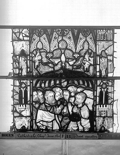 Cathédrale Vitrail, Chapelle Jeanne d'Arc, Baptême de saint jean, baie 38, troisième panneau, en haut, Heuzé, Henri (photographe),