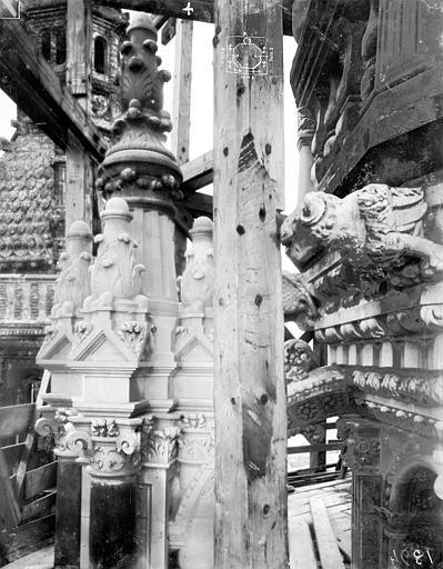 Cathédrale Saint-Gatien Couronnement d'un clocher : corniches, pinacles, gargouilles, ,