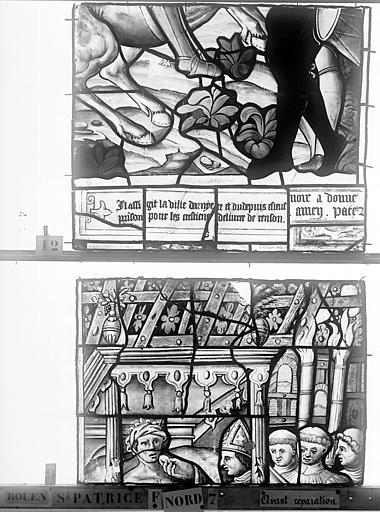 Eglise Saint-Patrice Vitrail, Vie de saint Louis, lancette de droite, deuxième panneau, Heuzé, Henri (photographe),