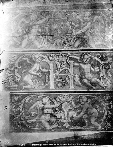 Palais de Justice Boiseries de plafond : Angelots, Bourgogne, L. (photographe),