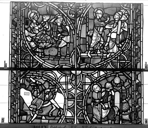 Cathédrale Vitrail, sacristie des Chanoines, saint Pierre et saint Paul, onzième panneau, Heuzé, Henri (photographe),