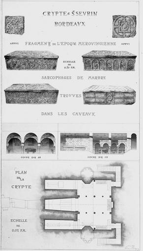 Eglise Saint-Sevrin Relevé, crypte, Magne, Louis,