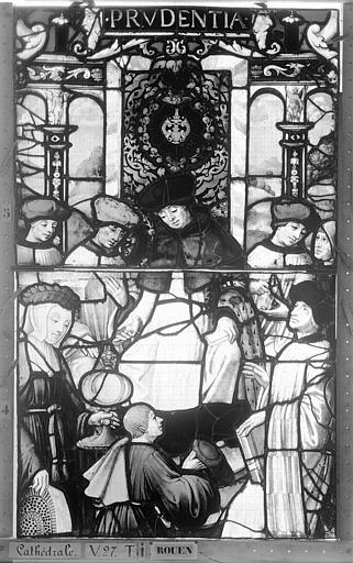 Cathédrale Vitrail, Chapelle Saint-Joseph, Vie de saint Romain, lancette de gauche, quatrième panneau, en haut, Heuzé, Henri (photographe),