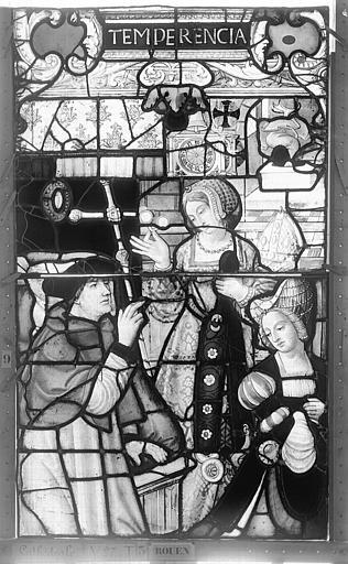 Cathédrale Vitrail, Chapelle Saint-Joseph, Vie de saint Romain, lancette de droite, deuxième panneau, en haut, Heuzé, Henri (photographe),